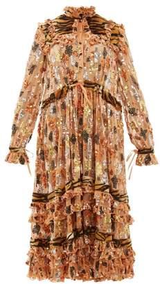 Ashish Tiger Print Faux Fur And Sequinned Chiffon Dress - Womens - Light Orange