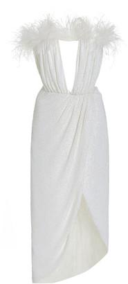 NERVI Exclusive Bonnie Feather-Trimmed Sequined Midi Dress