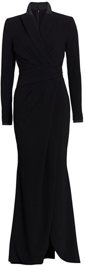 Talbot Runhof Slit Tuxedo Crepe Gown