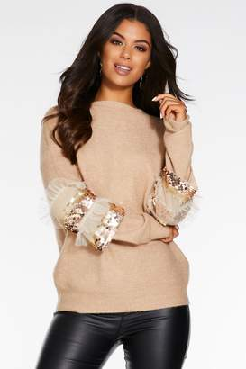 Quiz Stone Knit Sequin Frill Sleeve Jumper