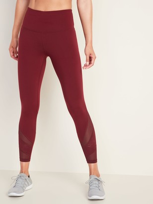 Old Navy High-Waisted Elevate 7/8-Length Mesh-Trim Compression Leggings for Women