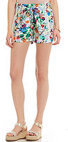 Freestyle Floral Printed Alba Paperbag Waist Soft Shorts