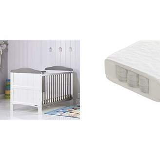 O Baby Obaby Whitby Cot Bed and Pocket Sprung Mattress - White with Taupe Grey