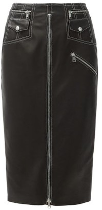 Alexander McQueen Slit-front Zip Leather Pencil Skirt - Black Multi