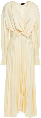 Magda Butrym Milano Twist-front Pleated Silk-satin Midi Dress