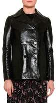 Valentino Double-Breasted Leather Jacket, Black