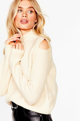 Nasty Gal Womens Made the Cut-Out Knitted Sweater - Cream