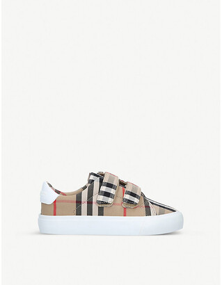Burberry Mini Markham checked canvas trainers 3-4 years