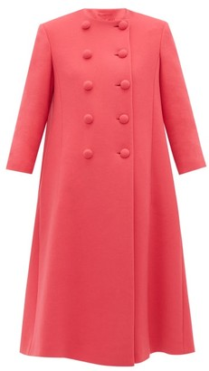 Gucci Double Breasted Flared Wool Coat - Womens - Pink