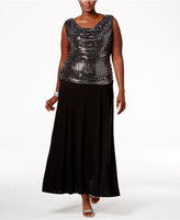R & M Richards Plus Size Sequin A-Line Gown