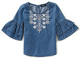 Takara Little Girls 4-6X Chambray Embroidered Top