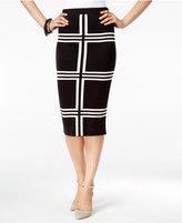 Alfani Knit-Pattern Pull-On Midi Skirt, Only at Macy's