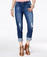 Rewind Juniors' Techno Tuck Ripped Skinny Jeans