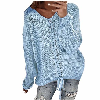 Meilunmeihu Women Pullover Sweater Jumper Ladies Tops Casual Solid V Neck Loose Long Sleeve Knitting Shirts Blouse Blue