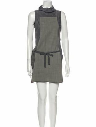 Brunello Cucinelli Colorblock Pattern Mini Dress Grey
