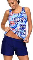 Crazycatz@Womens Tankini Swimsuit Tank Top+Boyshort