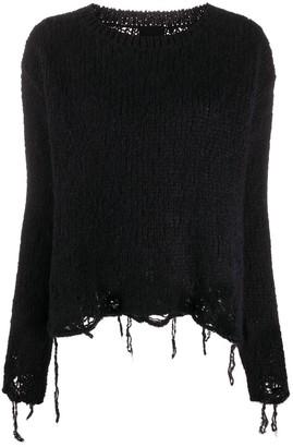 Thom Krom Distressed Round-Neck Sweater