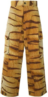 Pierre Louis Mascia Tiger Print Wide Trousers