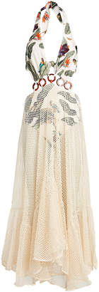 PatBO Tropical Mesh Beach Maxi Dress