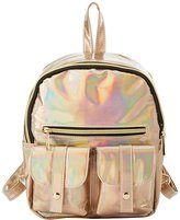 Charlotte Russe Holographic Faux Leather Backpack