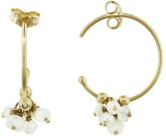 Sweet Pea Pearl and Moonstone Hoop Earrings - Yellow Gold