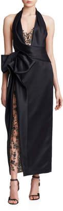 Marchesa Halter-Neck Tea Length Gown
