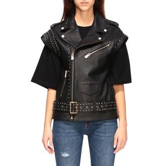 Frankie Morello Waistcoat Studded Jacket In Leather