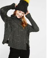 Express cable knit cowl neck sweater