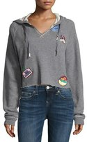 True Religion Pullover Hoodie with Patch Appliqués, Heather Gray