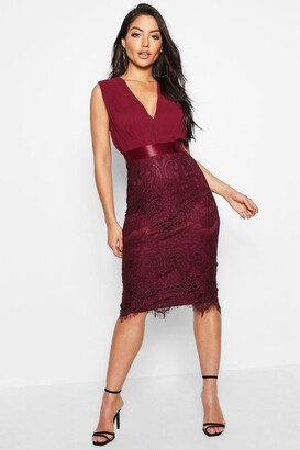 boohoo Chiffon & Lace Midi Dress