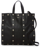 Moschino Metal Button Leather Tote