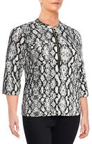 Calvin Klein Plus Print Roll-Sleeve Blouse