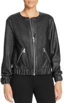 MICHAEL Michael Kors Perforated Faux Leather Bomber Jacket