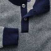 Charles Tyrwhitt Blue jacquard button neck jumper
