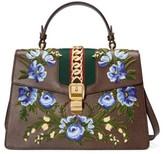 Gucci Medium Sylvie Embroidered Top Handle Leather Shoulder Bag - Grey