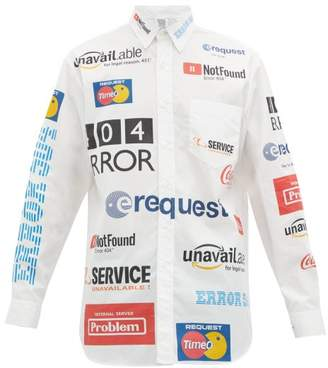 Vetements Error-print Cotton-poplin Shirt - Mens - White Multi
