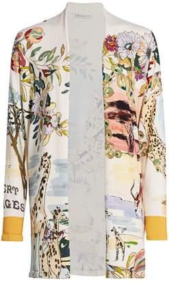 Etro Safari-Print Silk-Blend Cardigan