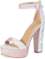 Bamboo Blush Velvet Ankle-Strap Tournament Platform Sandal
