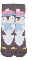 John Lewis Children's Penguin Terry Slipper Socks, Grey
