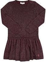 Lili Gaufrette Metallic Knit Drop-Waist Dress-BURGUNDY