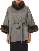 Gorski Cashmere Belted Cape w/ Sable Collar and Cuffs