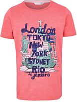John Lewis Boys' Cities Print T-Shirt, Red
