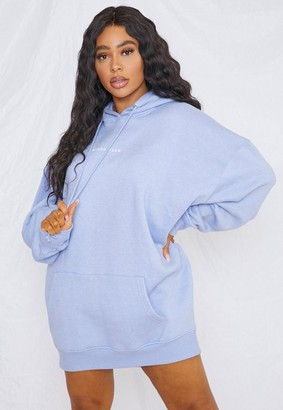 Missguided Plus Size Blue Oversized Hoodie Sweater Dress