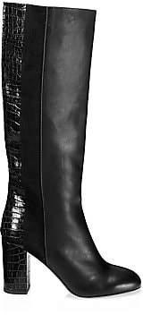 Aquazzura Women's Eaton Knee-High Croc-Embossed Leather & Suede Boots