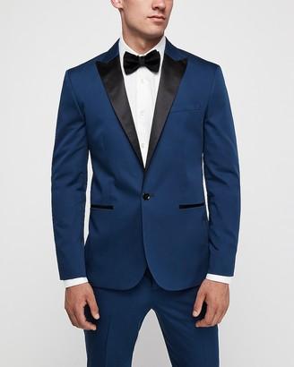 Express Slim Marine Cotton-Blend Satin Stretch Tuxedo Jacket