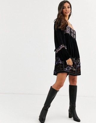 Free People Rhiannon embroidered shift dress-Black