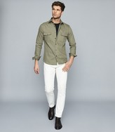 Reiss Pricey - Heavy Twill Overshirt in Sage