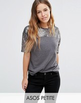 Asos T-Shirt with Sequin Yoke in Boxy Fit