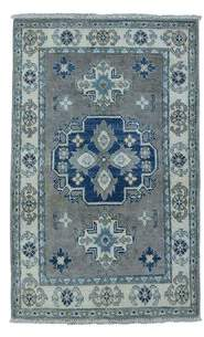 "Maja Charlton Home One-of-a-Kind Kazak Hand-Knotted 2' x 2'10"" Wool Gray Area Rug Charlton Home"