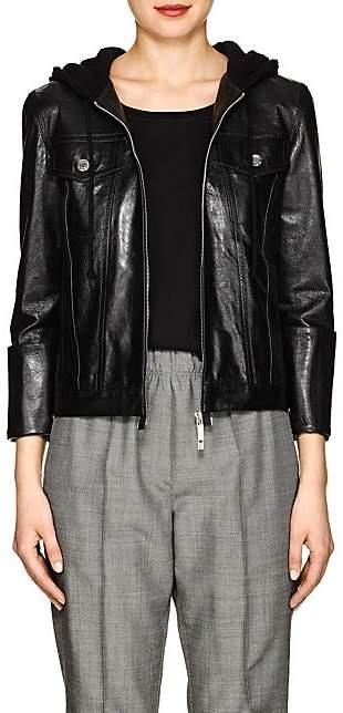 Helmut Lang Women's Hooded Glazed Leather Jacket - Black